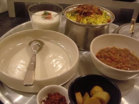 My Veggie Byriani Tray: Byriani Rhaita, Byriani Maraq, Lemon Pickles, and Some Powder