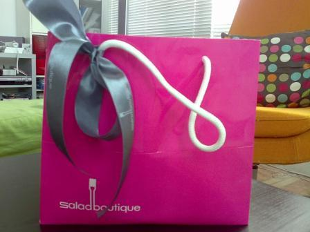 The bag... which is tasteful and looks like a gift bag!