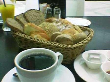 The Continental Breakfast with black coffee... they bring you this huge basket filled with goodies from the bakery...