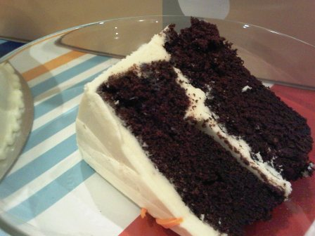 Gooey Chocolate Cake with Vanilla Cream Frosting